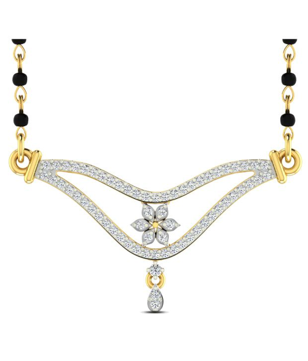 Sparkles Exquisite Diamond Mangalsutra With Gold Chain And Black Beads