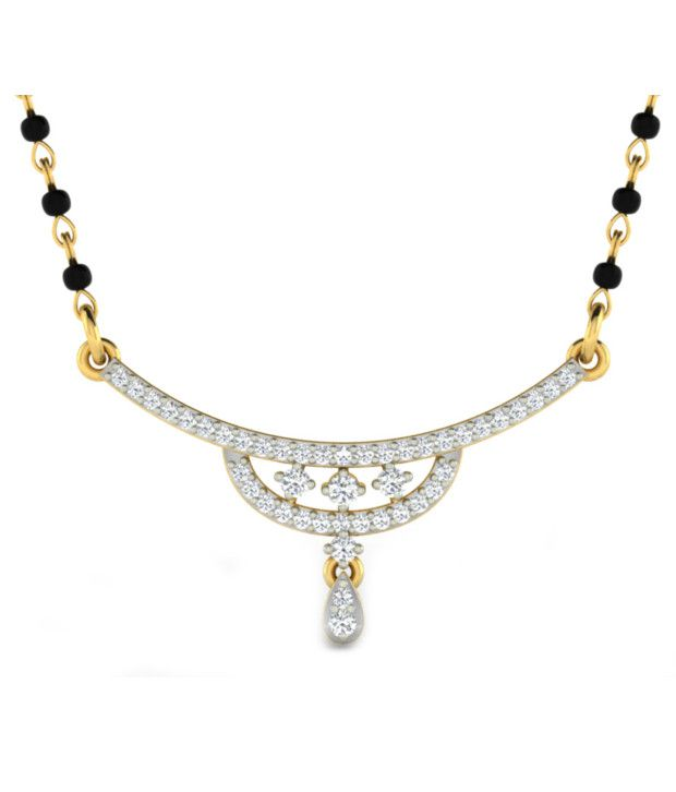 Sparkles Glittery Diamond Mangalsutra With Gold Chain And Black Beads