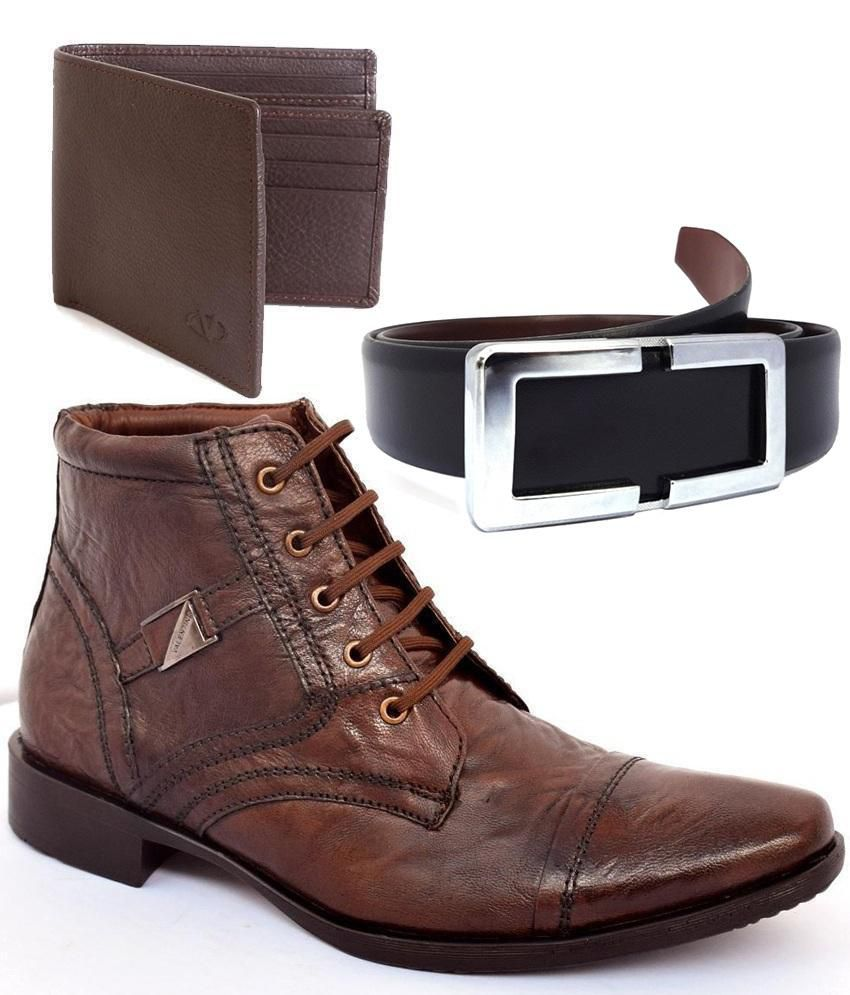 Valentino Brown Ankle Length Boots, Leather Belt & Wallet Combo