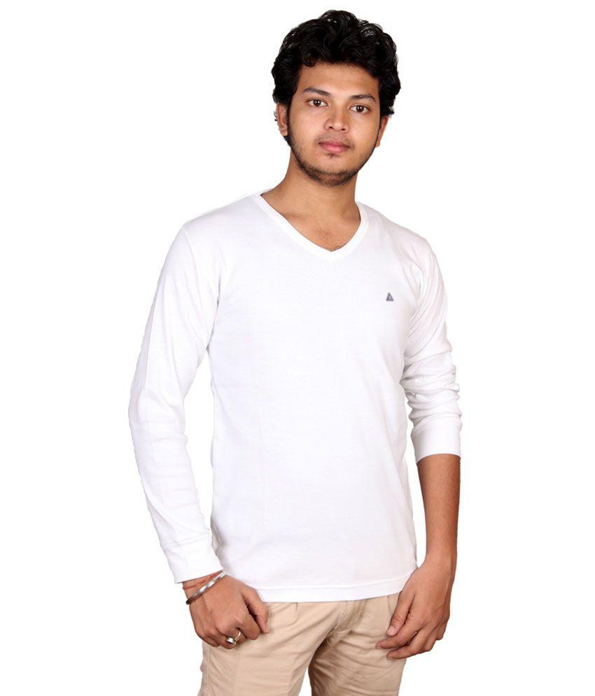 Fulon White Cotton V-neck Full Sleeve T Shirt