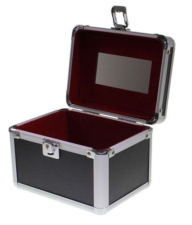 Kurtzy Nesting Trio Of Vanity Cosmetic Jewellery Make Up Case Storage Box Set Of 3 In Black Jewellery Boxes
