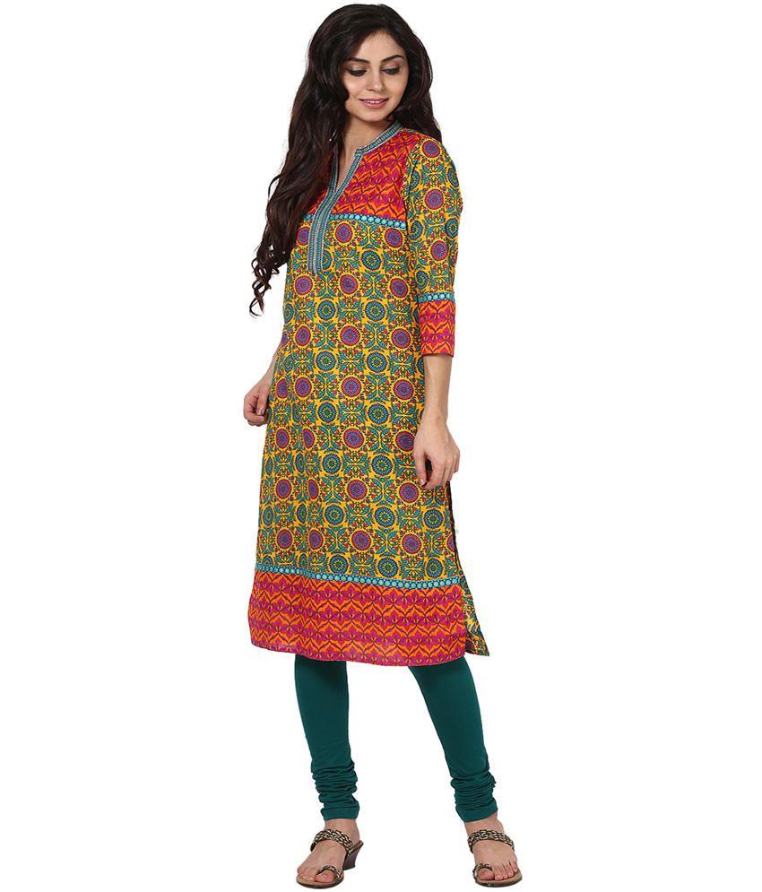 Prakhya Multicolor Embroidered Cotton 3/4th Sleeves Long Kurti