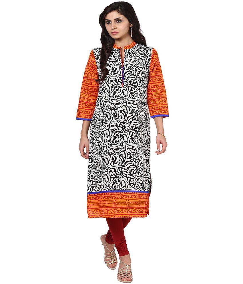Prakhya Multi Color Printed Cotton 3/4th Sleeves Long Kurti