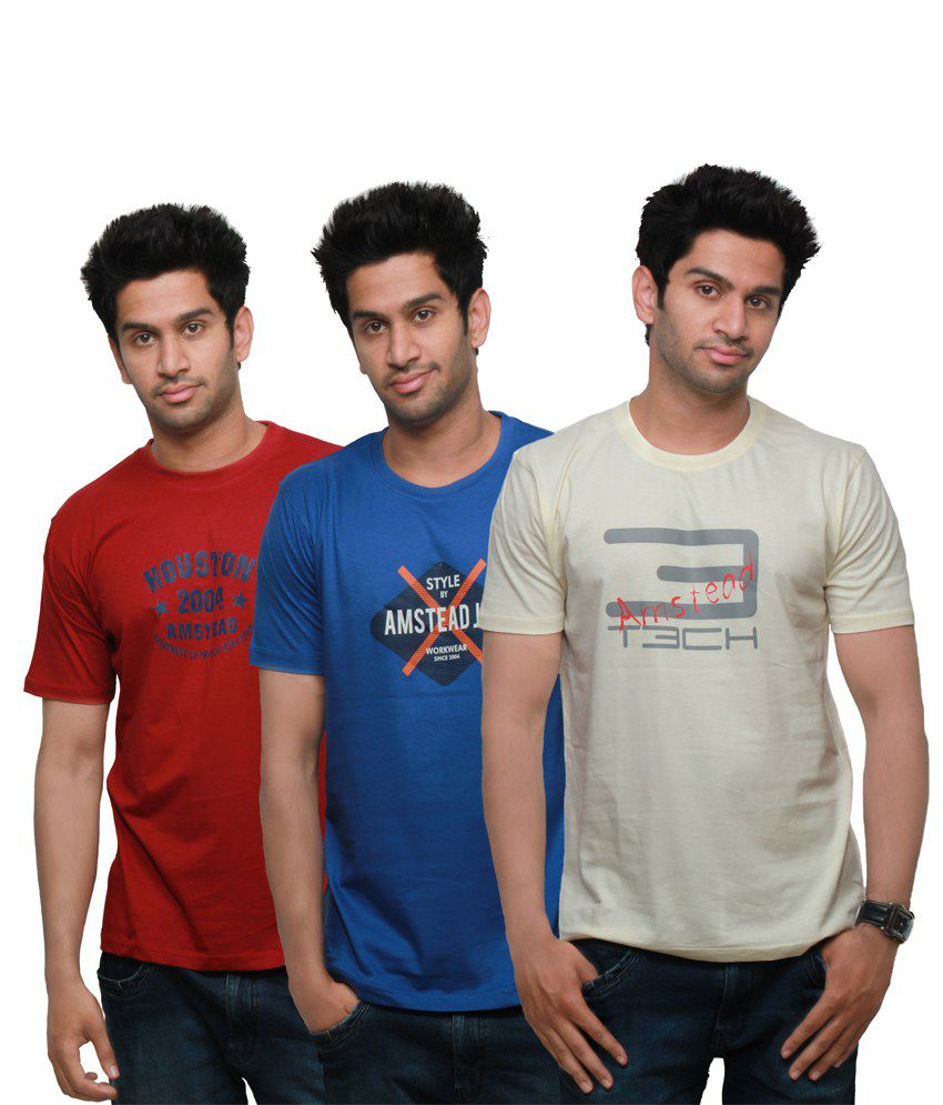 Amstead Multicolour Cotton Printed Half Sleeves Round Neck T-shirt - Pack Of 3