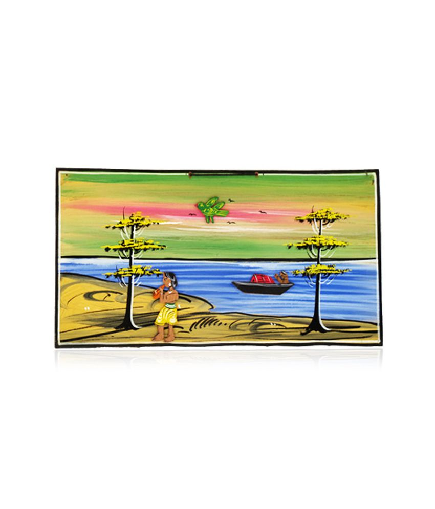 Sanatan Collection Village Scenery Wall Hanging-painting Flute Playing