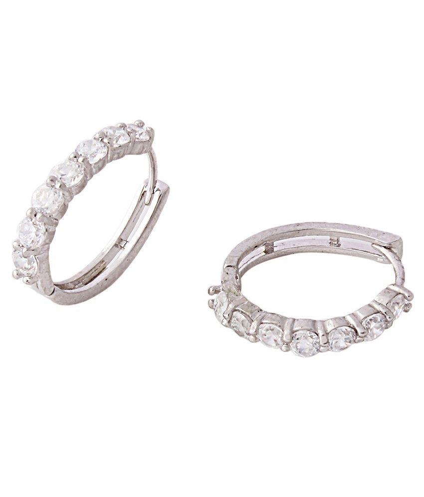 Variation American Diamond Studded Silver Hoop Earring