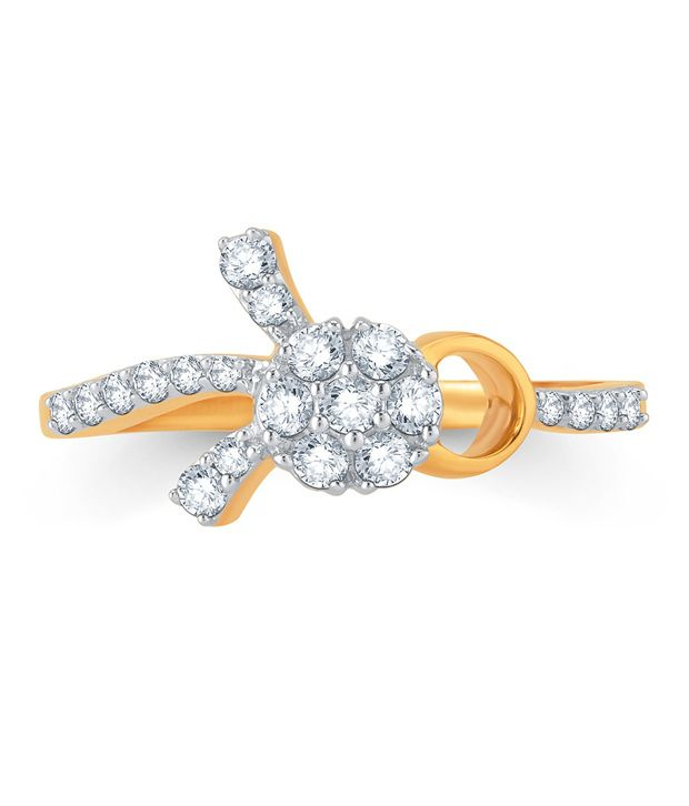 Pure Gold Jewellers 18kt Yellow gold Floral Cluster Ring with 21pcs of 0.30cts Diamonds