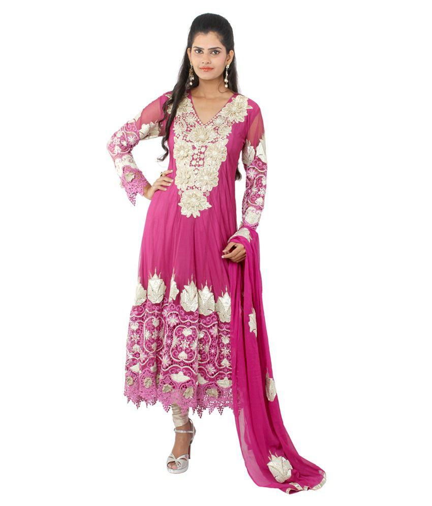 Wv&u Maroon Casual Net Long Anarkali Dress