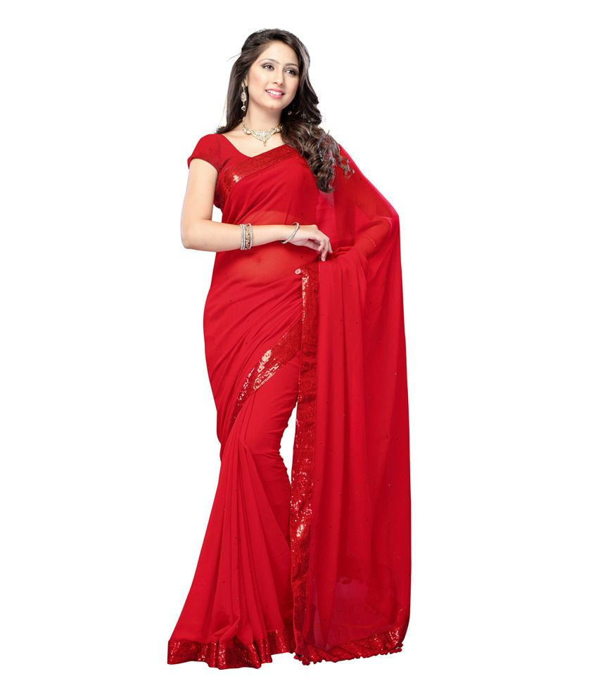India Craft Red Plain Net Saree With Blouse Piece Buy