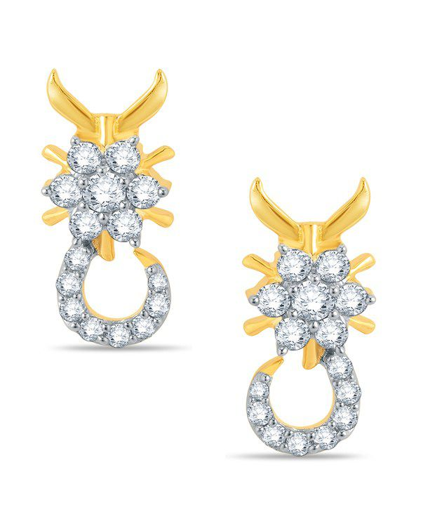 Pure Gold Jewellers 18kt Yellow gold Floral Cluster Earring with 30pcs of 0.40cts Diamonds