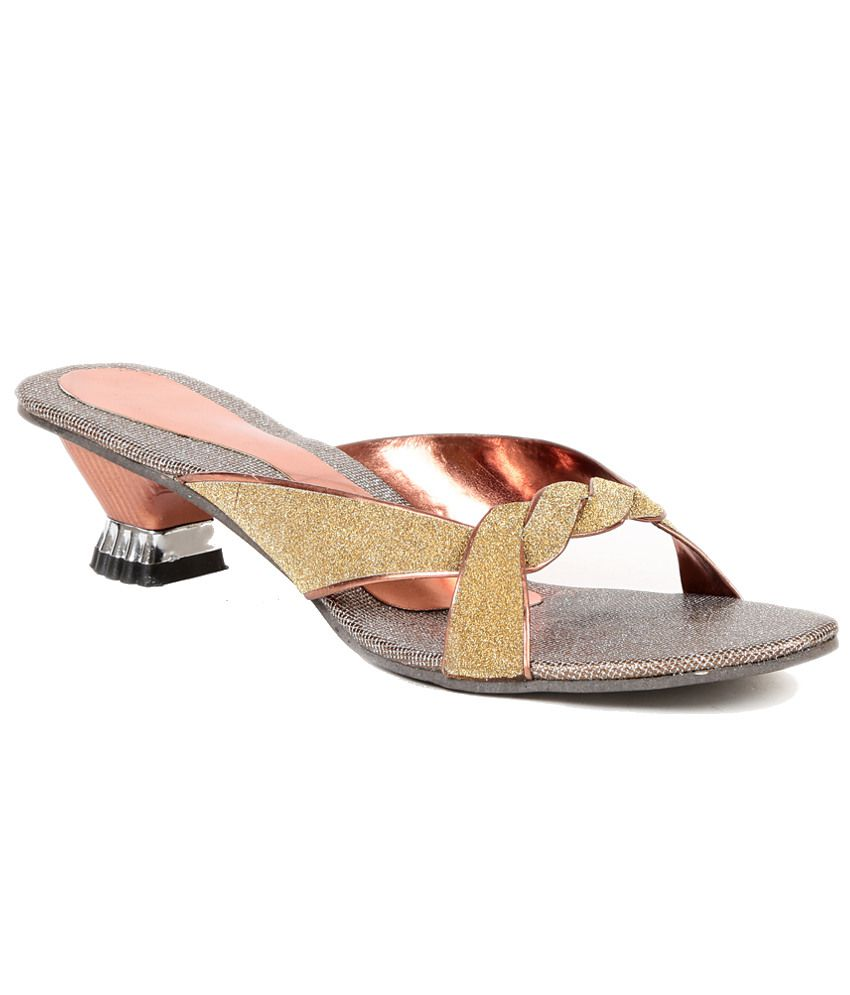 Sindhi Footwear Goldenrod Kitten Heeled Slip-on