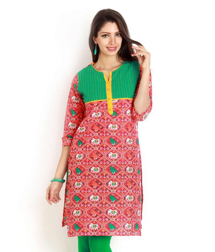 Aaboli Teal Printed 3/4th Sleeves Long Kurta