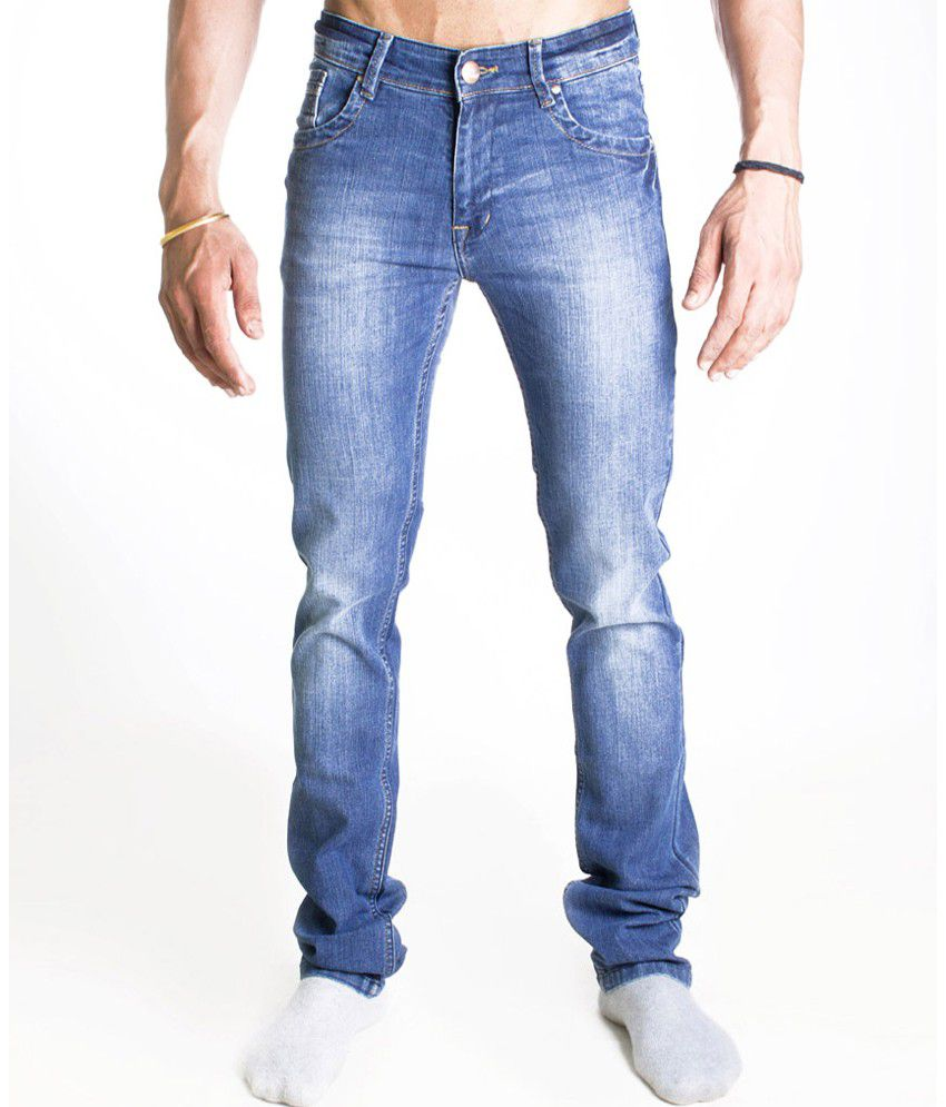 John Pride Blue Cotton Jeans For Men