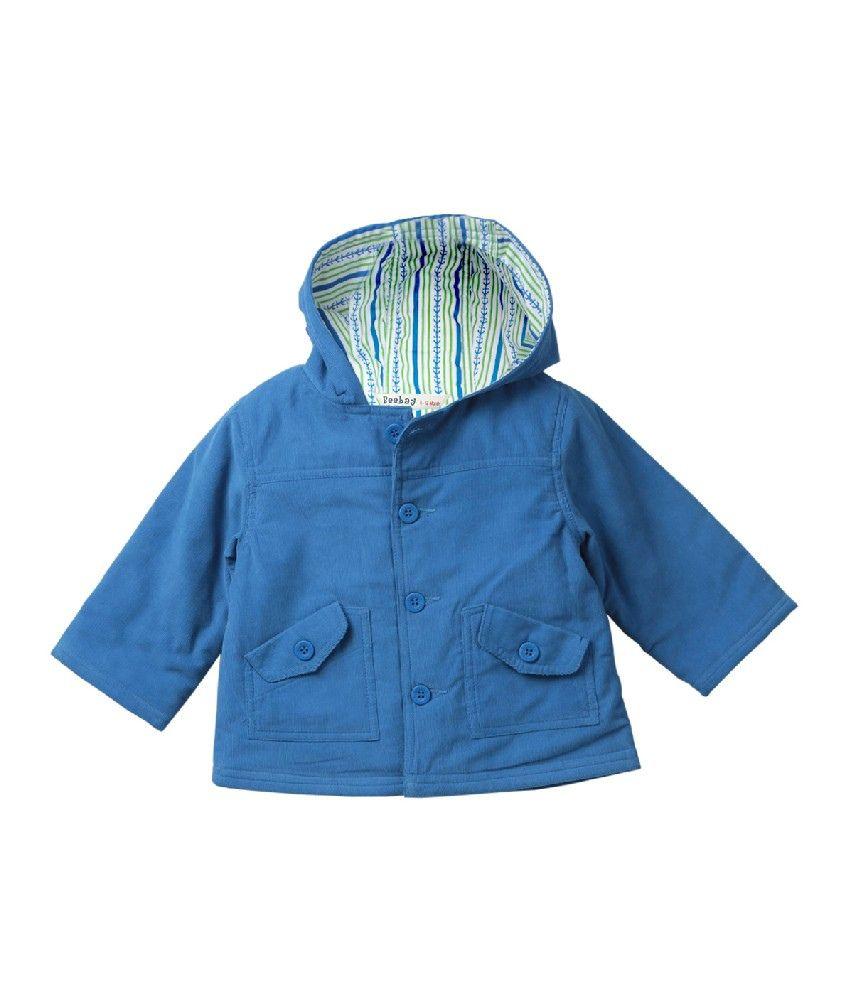 Beebay Blue Color Coduroy Hooded Jacket For Kids - Buy ...