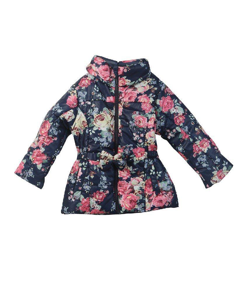 Beebay Navy Color Rose Printed Jacket with Belt For Kids