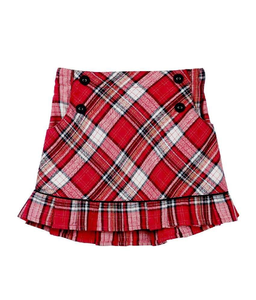 Beebay Red Color Checks Skirt For Kids