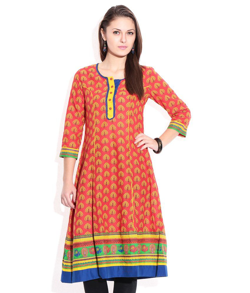 d0aeba56d Rangriti Red Printed Cotton Kurti - Buy Rangriti Red Printed Cotton Kurti  Online at Best Prices in India on Snapdeal