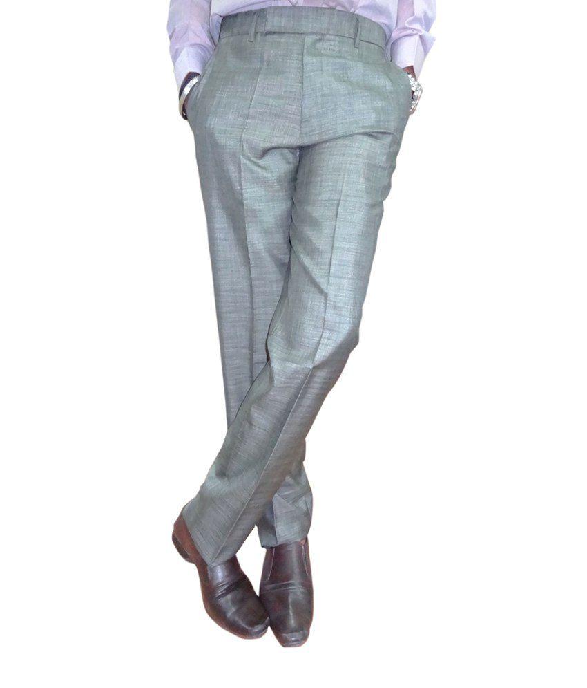 Oswal Light Formal Poly Blend Regular Trouser Gray