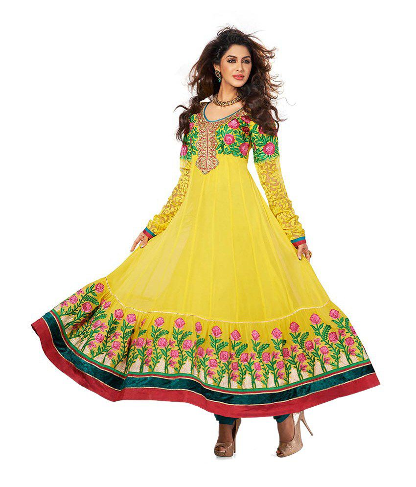 Vaani Yellow Color Party Wear Handcrafted Embroidered Dress Materials
