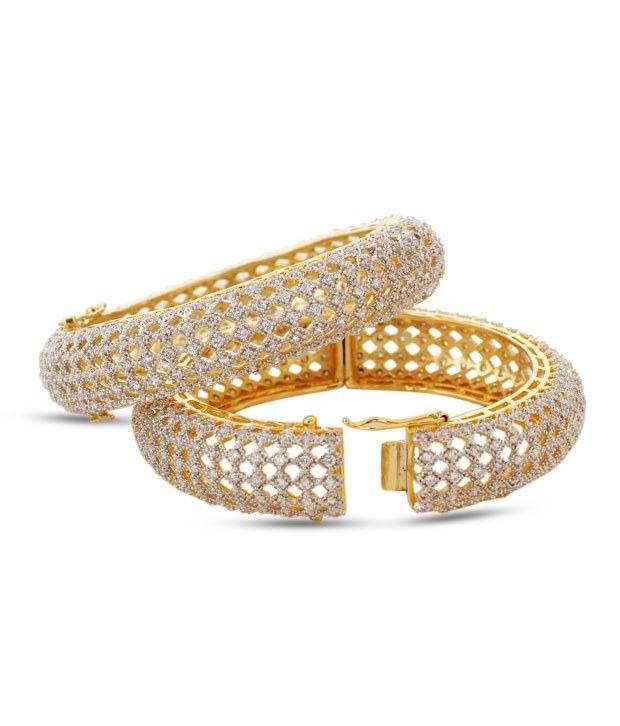 Vitrag Jewels Charming Pair Of Kada Embellished With Cz Stones