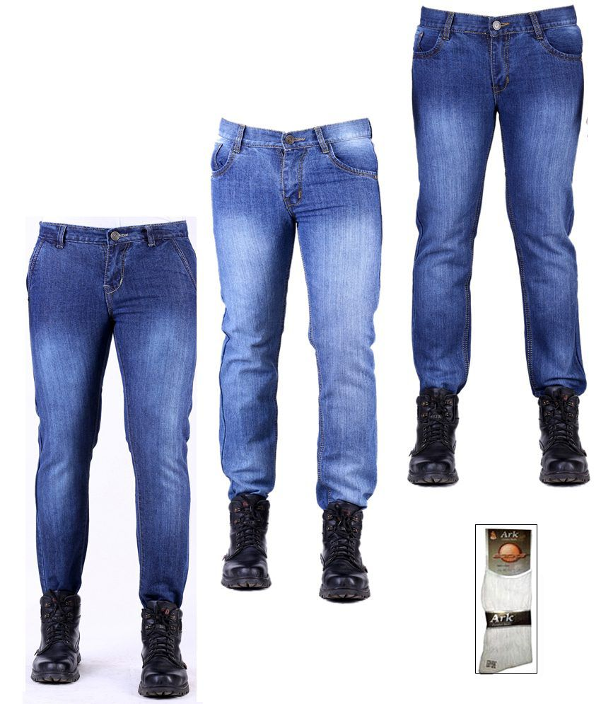 Ansh Fashion Wear Stretchable Men's Jeans Combo Of 3 Jeans With Free 1 Pair Of Assorted Socks