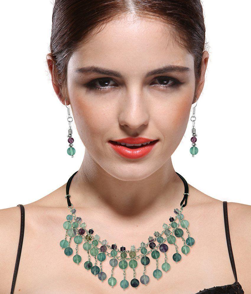 Pearlz Ocean Zinnia Multi Fluorite Gemstone Beads Two- Piece Necklace Set