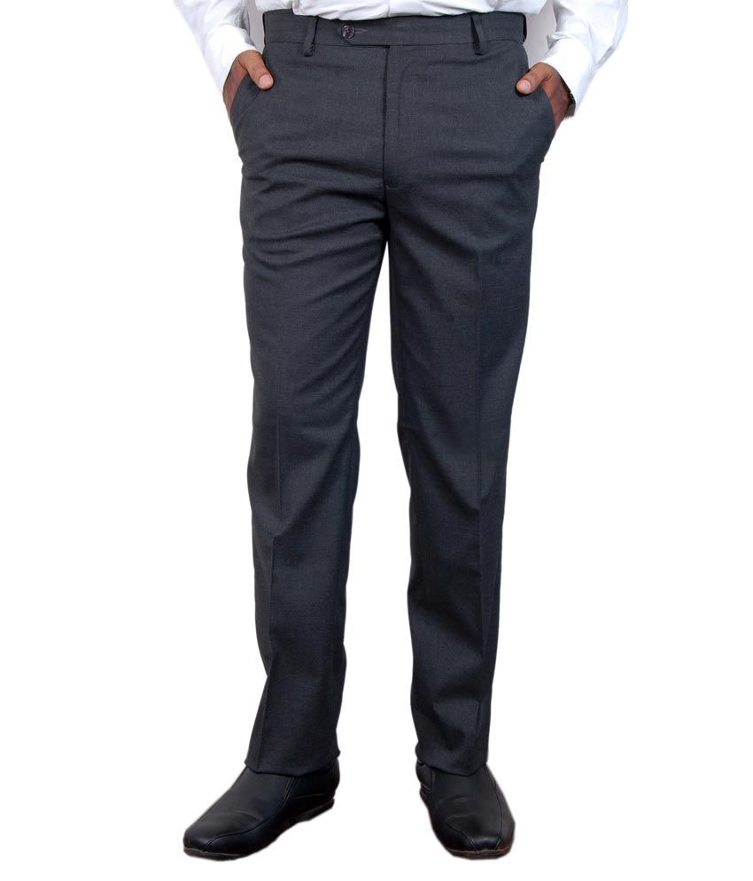 Super Trouser Charcoal Poly Viscose Slimfit Trouser