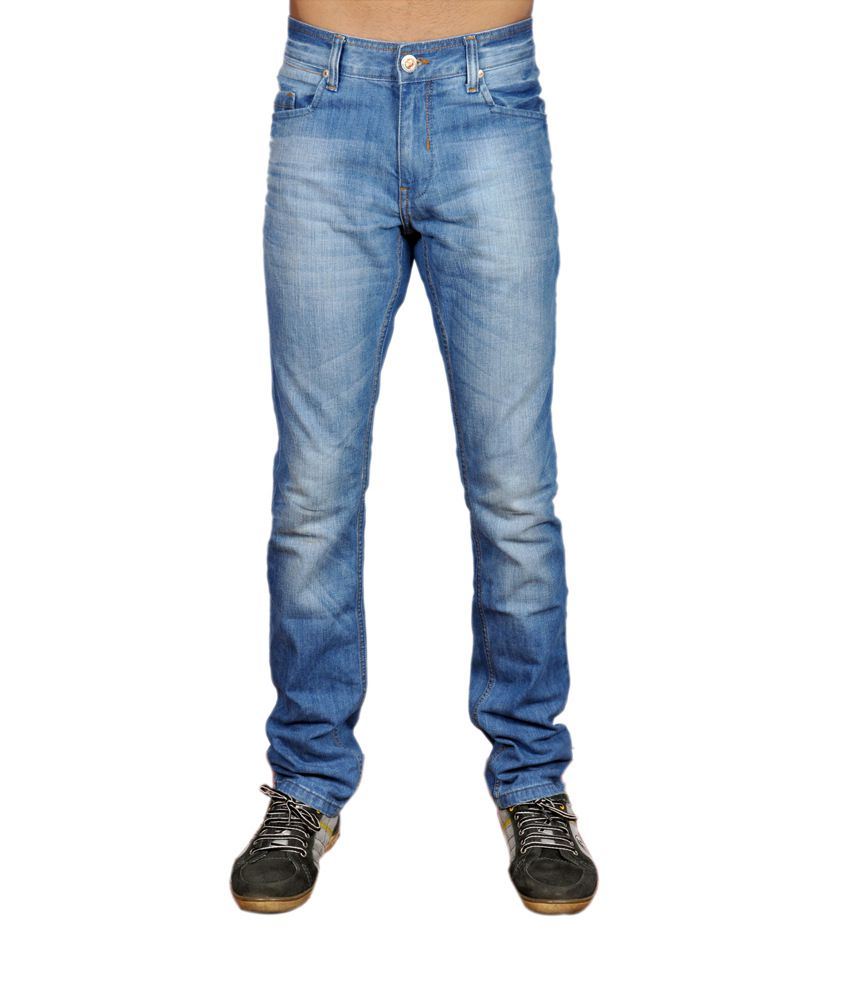 Umm Blue Cotton Blend Skinny Jeans