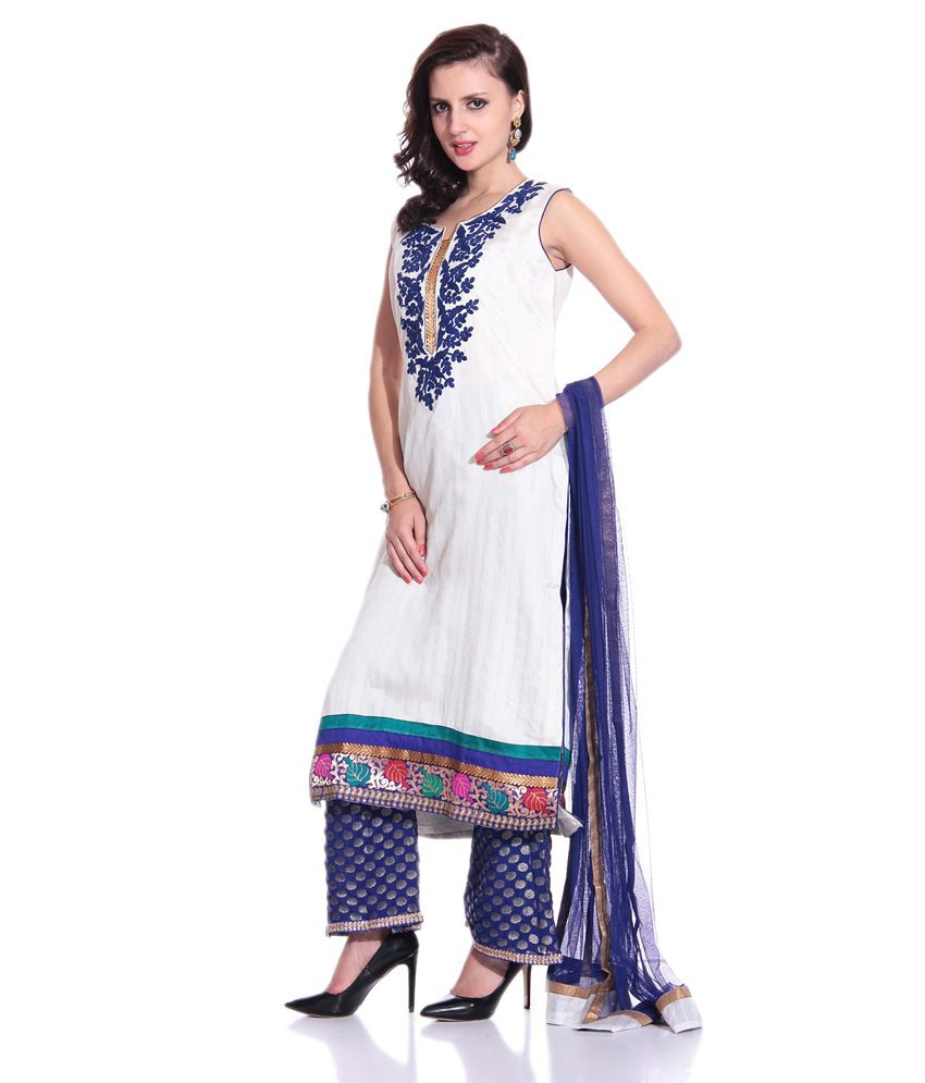Concepts White Silk Embroidered Stitched Straight Suit