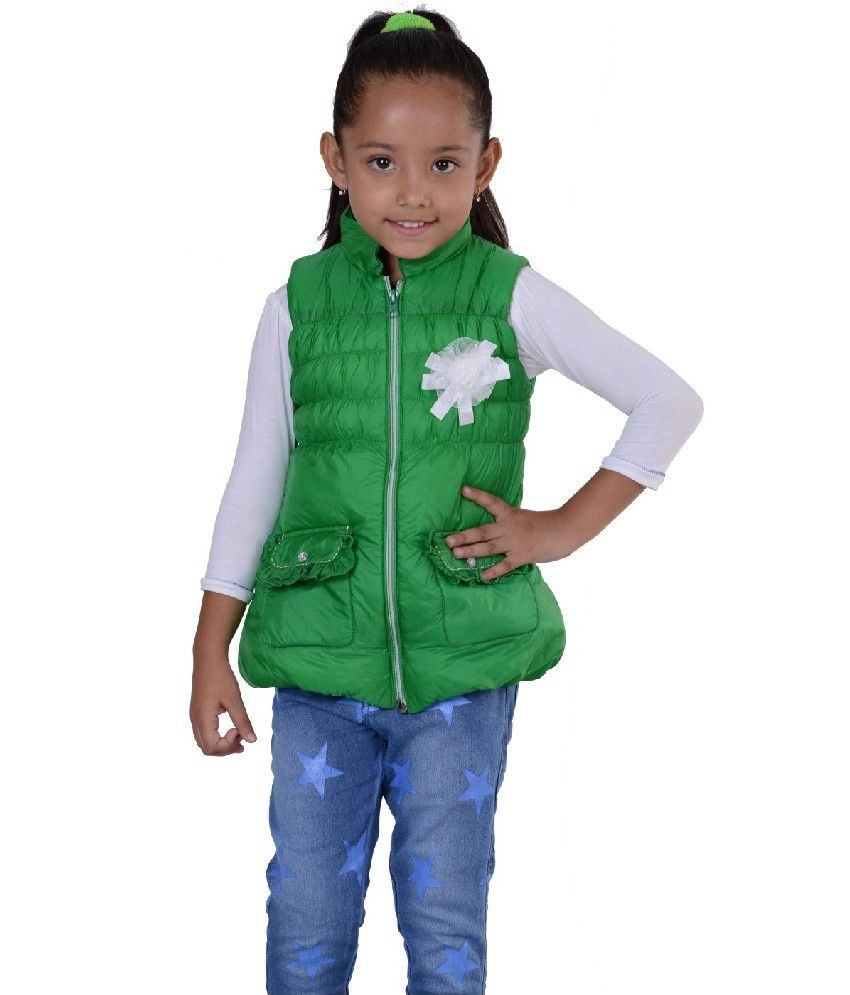 Sportking Sleeveless Green Color Padded Jackets For Kids