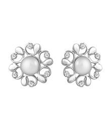 92.5 Sterling Silver Gerbera White Swarovski Zirconia Earrings