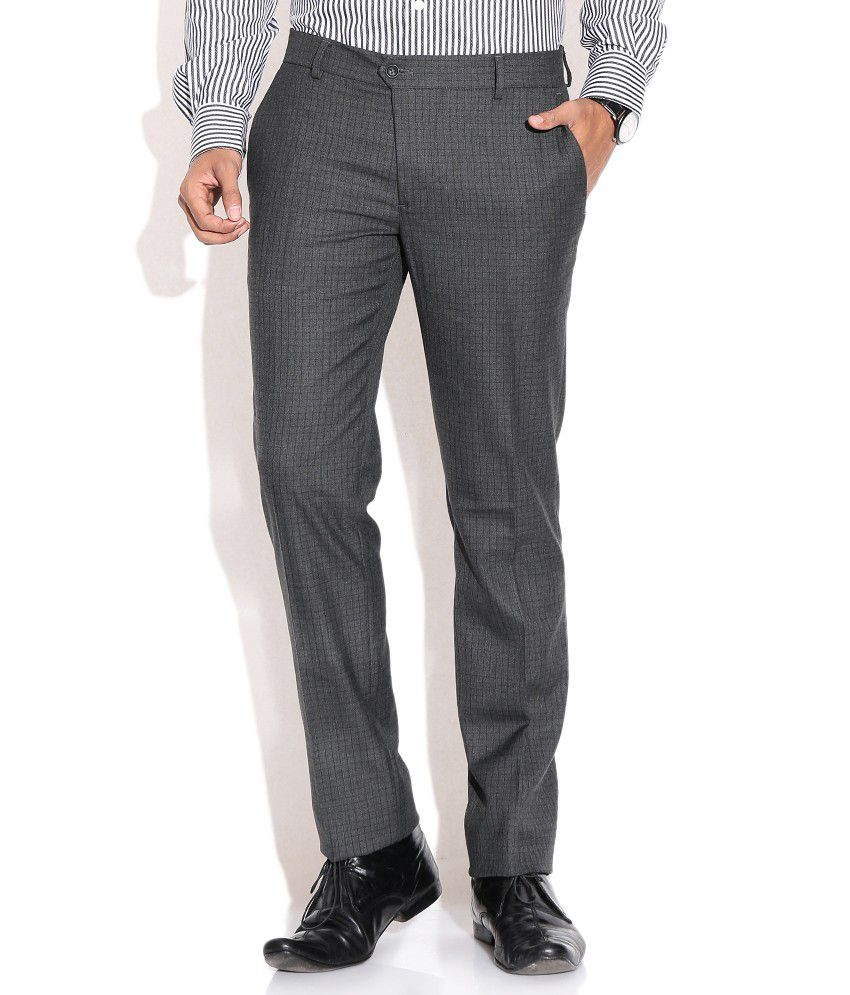 Wills Lifestyle Gray Regular Formals Trousers & Chinos