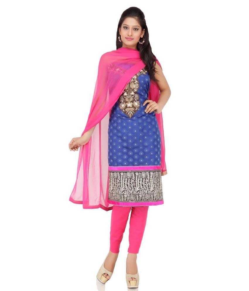 Blue Cotton Border Work Suit Dress Material With Dupatta