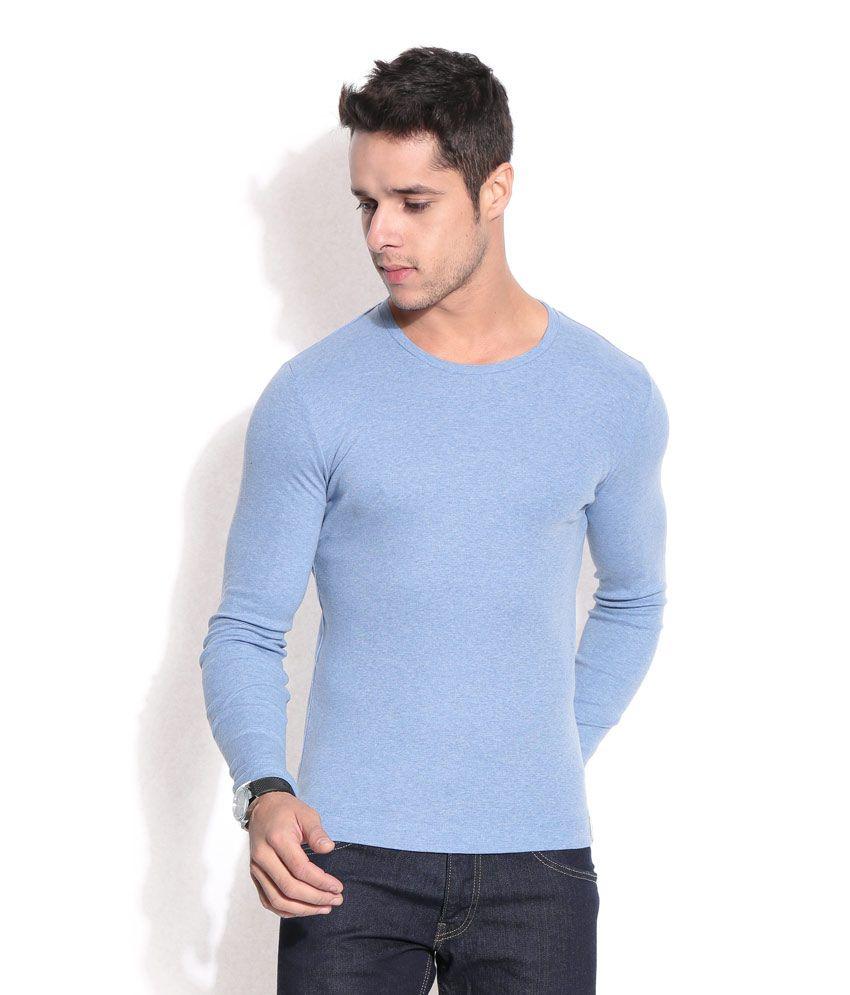 Hues Blue Basic Round-neck T-shirt