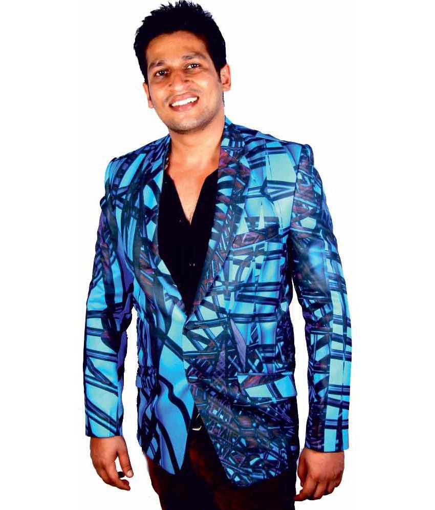Kt Blue Poly Blend Print Blazer