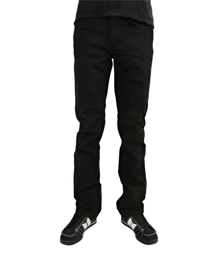 Leemarc Black Cotton Blend Regular Fit Jeans