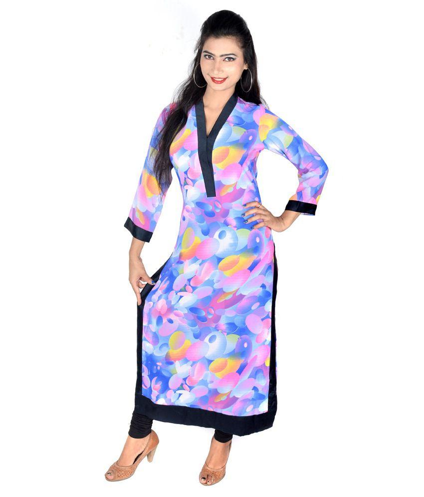 Vivaa Georgette Multi Color Full Sleeve Long Kurti