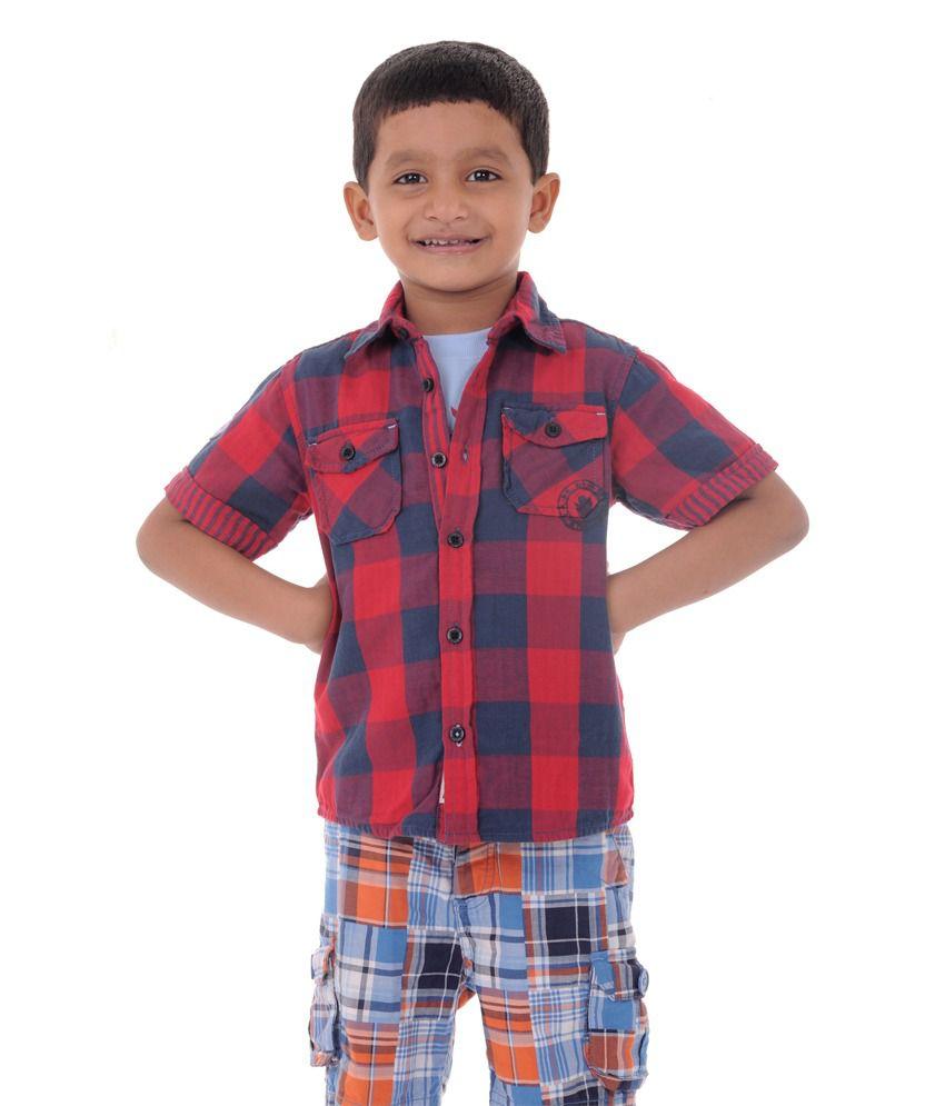 9e26950cc8bbe3 Bio Kid Luxury Shirt   Casual Tee - Red Check Shirt   Powdr Blue Tee - 2  Pcs Set Pack - Buy Bio Kid Luxury Shirt   Casual Tee - Red Check ...