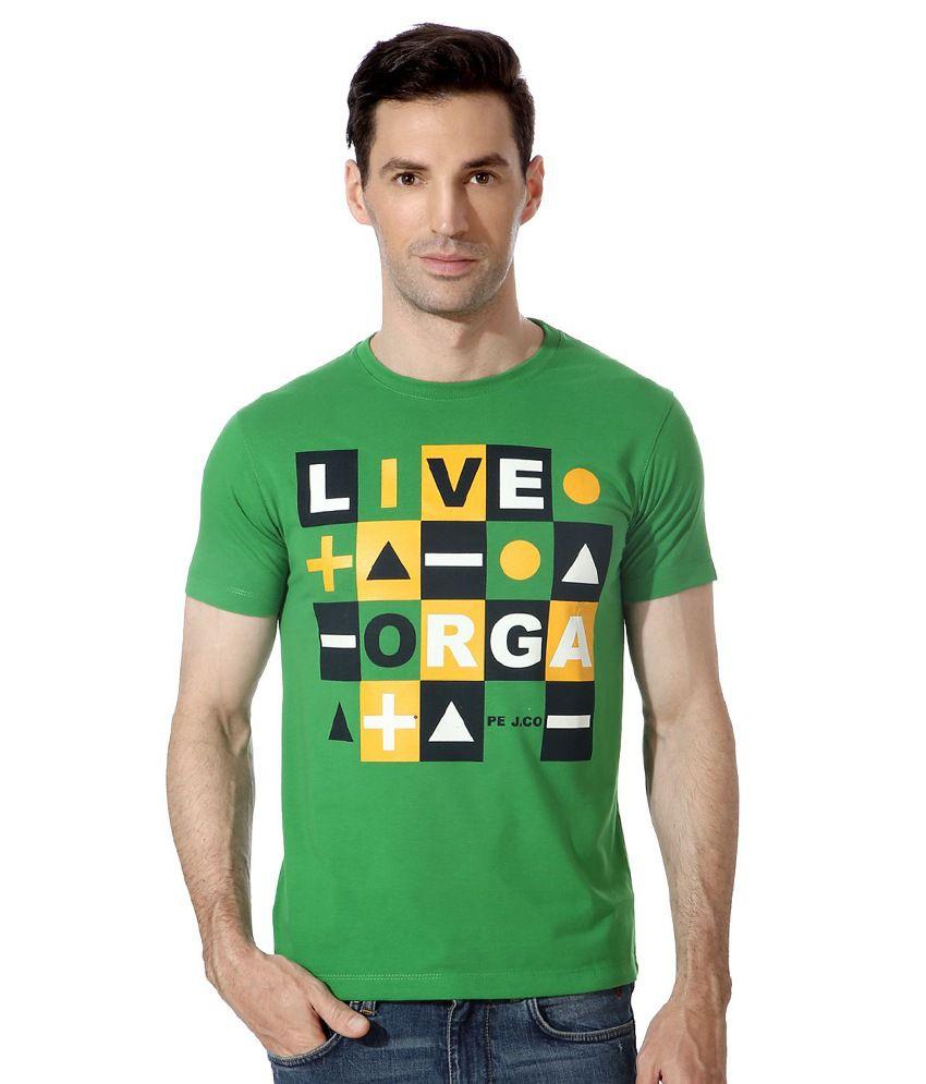 Peter England Green Cotton T-shirt