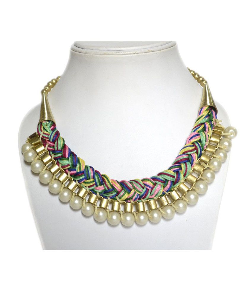 Aidalane Multicolored Plait With White Pearl And Golden Plated Necklace For Women