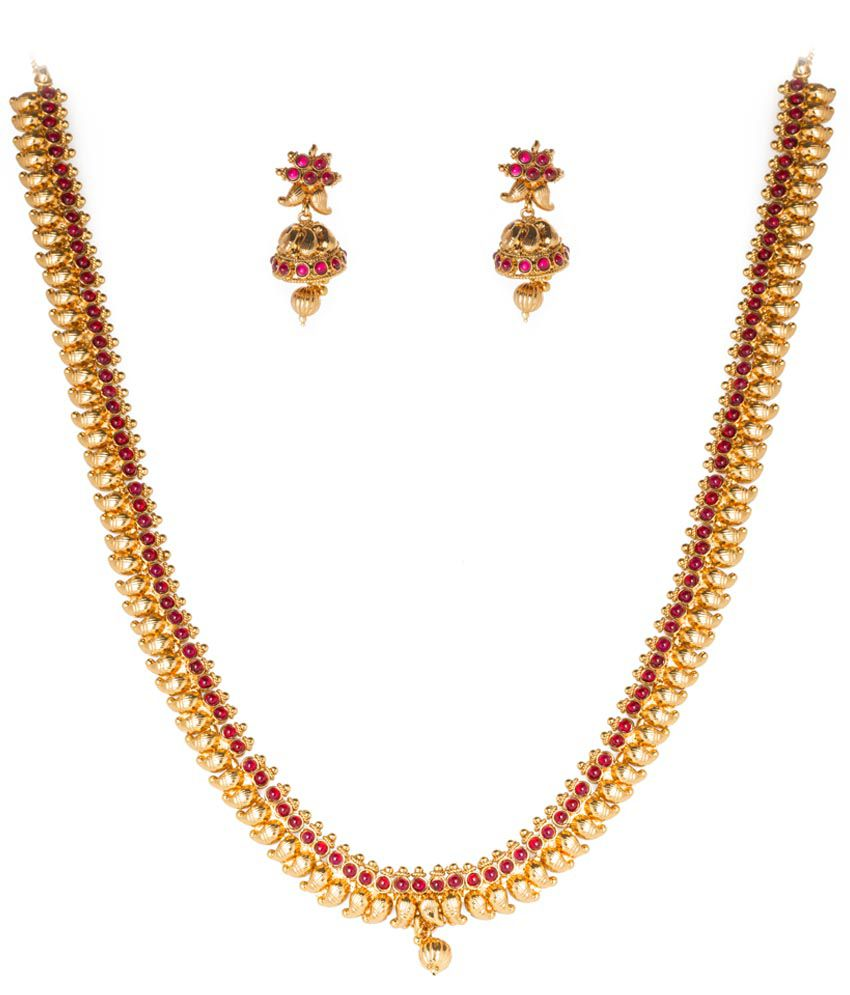 836cd2f01d Chaahat Fashion Jewellery Traditional Golden & Pink Kempu Necklace Set -  Buy Chaahat Fashion Jewellery Traditional Golden & Pink Kempu Necklace Set  Online ...