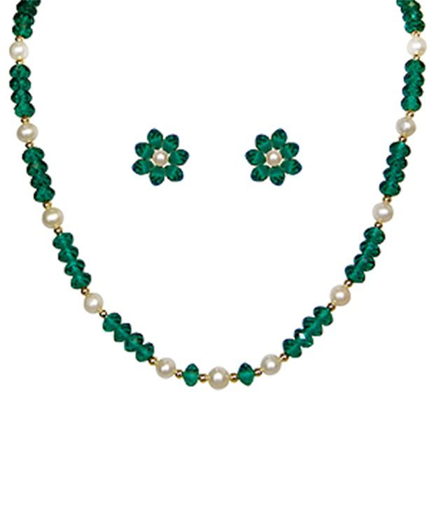 24dda5b0ab3 Classique Designer Jewellery Charming Green Pearl Necklace Set - Buy  Classique Designer Jewellery Charming Green Pearl Necklace Set Online at  Best Prices in ...