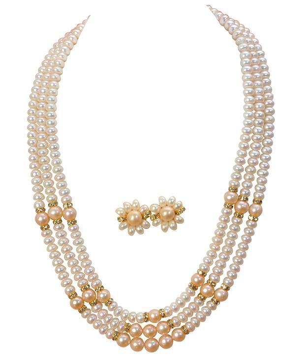 Classique Designer Jewellery White & Peach Triple Band Pearl Necklace Set