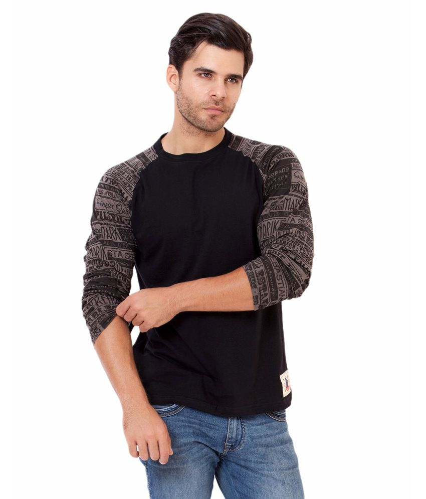 Elaborado Black Printed Cotton T-shirt
