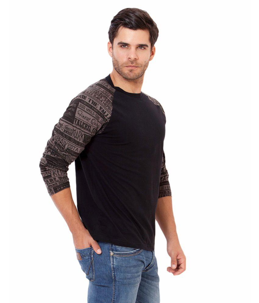 Black t shirt low price -  Elaborado Black Printed Cotton T Shirt