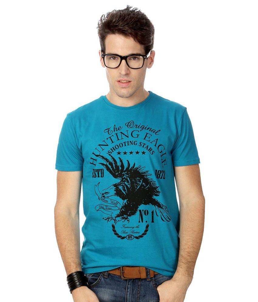 People Blue Cotton T-shirt