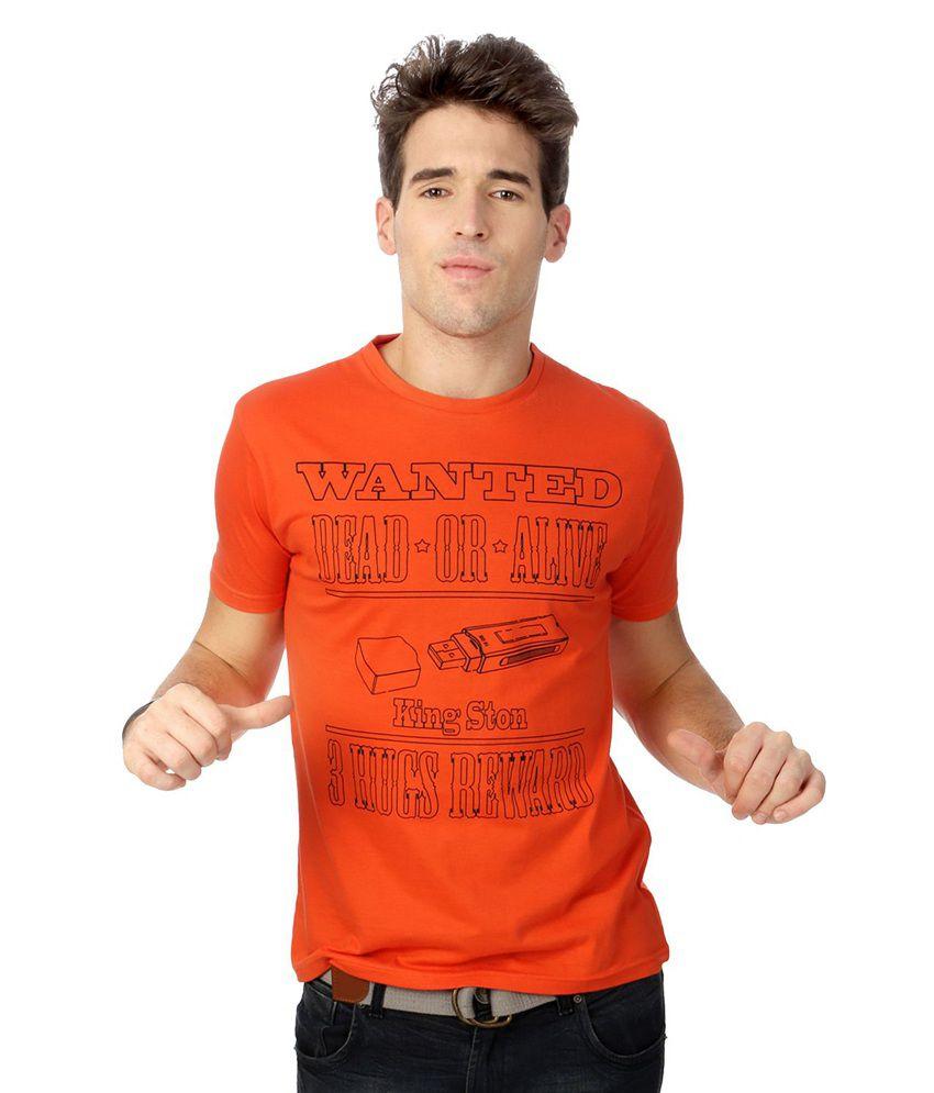 People Orange Cotton T-shirt