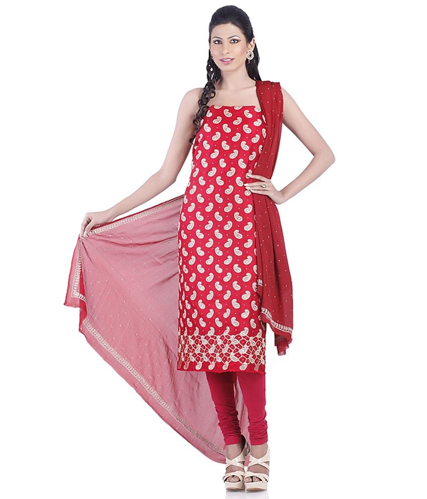 Red other embroidery suit dress material with dupatta