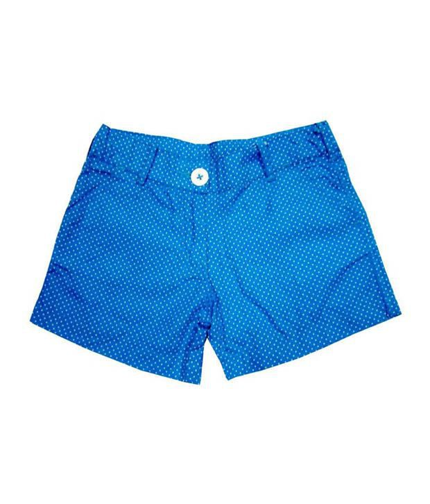 Catapult Girl's Blue Polka Printed Shorts