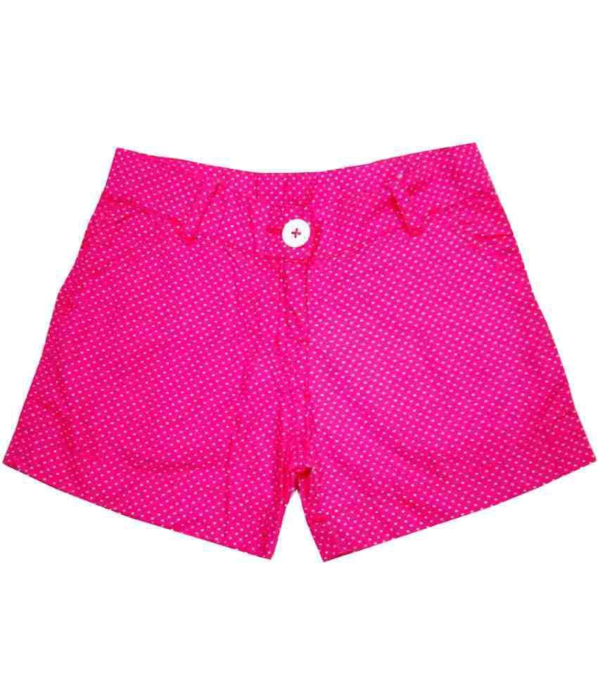 Catapult Girl's Pink Polka Printed Shorts